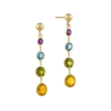 jcpenney.com | Multi Gemstone 14K Yellow Gold Dangle Post Earrings