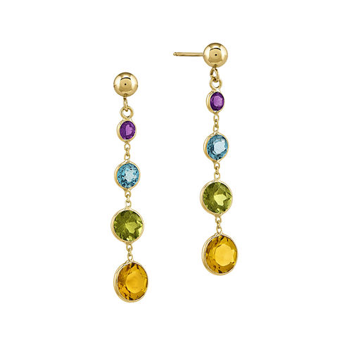 Multi Gemstone 14K Yellow Gold Dangle Post Earrings
