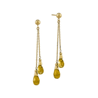 jcpenney.com | Genuine Yellow Citrine 14K Yellow Gold Dangle Earrings