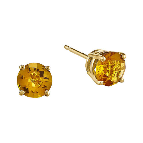 Genuine Yellow Citrine 14K Yellow Gold 6mm Stud Earrings