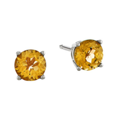 jcpenney.com | Genuine Yellow Citrine 14K White Gold 5mm Stud Earrings