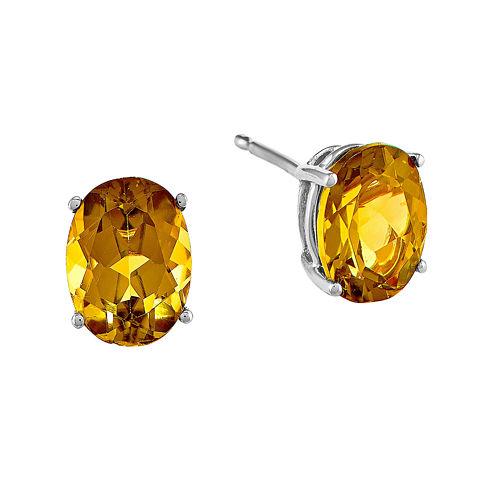 Genuine Citrine 14K White Gold Oval Stud Earrings