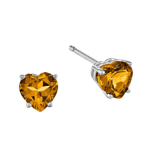 Genuine Citrine 14K White Gold Heart-Shaped Stud Earrings