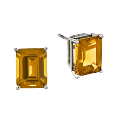 jcpenney.com | Genuine Citrine 14K White Gold Emerald-Cut Stud Earrings