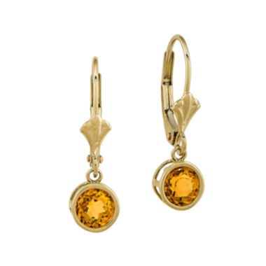 jcpenney.com | Genuine Citrine 14K Yellow Gold Leverback Earrings