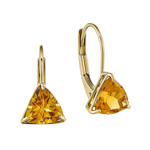 Genuine Citrine 14K Yellow Gold Leverback Earrings