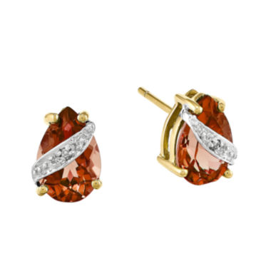jcpenney.com | Genuine Red Garnet and Diamond-Accent 14K Yellow Gold Pear-Shaped Earrings