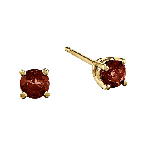 Genuine Red Garnet 14K Yellow Gold Stud Earrings
