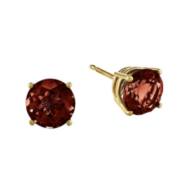jcpenney.com | Genuine Red Garnet 14K Yellow Gold Round Earrings
