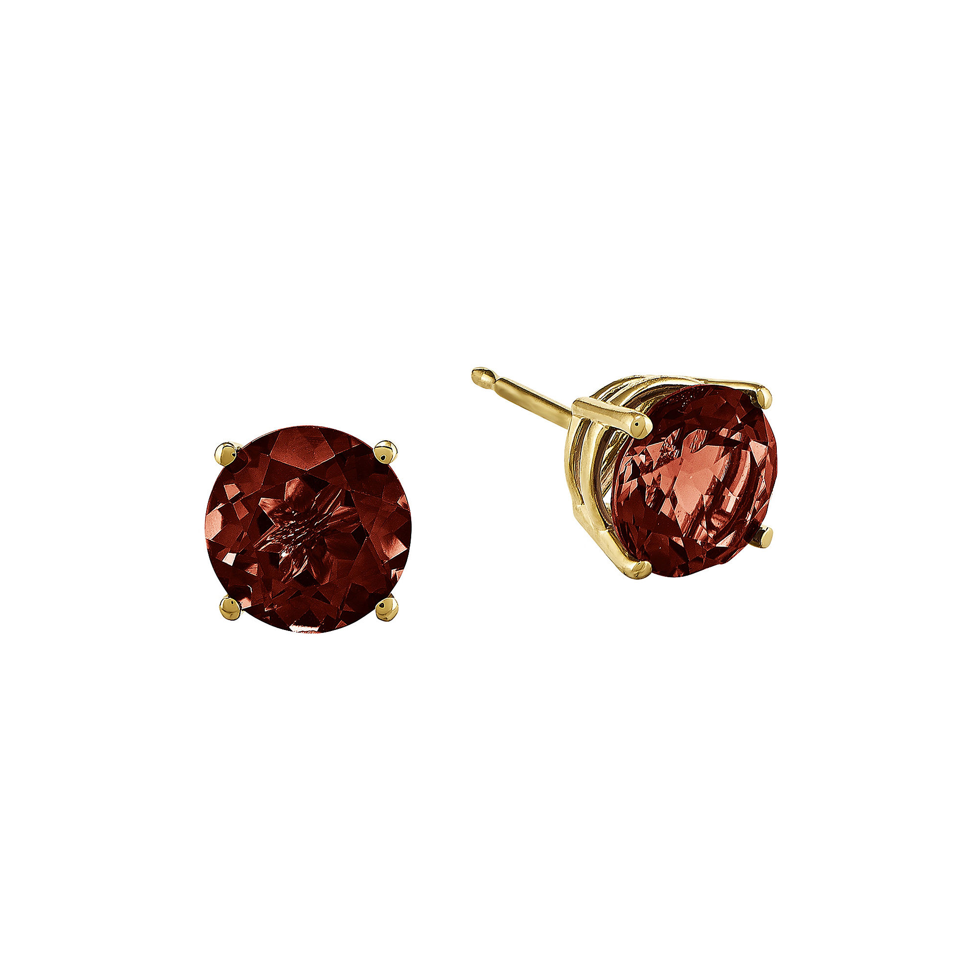 Genuine Red Garnet 14K Yellow Gold Round Earrings