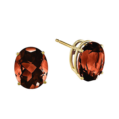 Genuine Red Garnet 14K Yellow Gold Oval Earrings