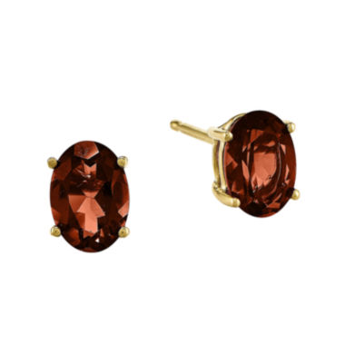 jcpenney.com | Genuine Red Garnet 14K Yellow Gold Oval Earrings