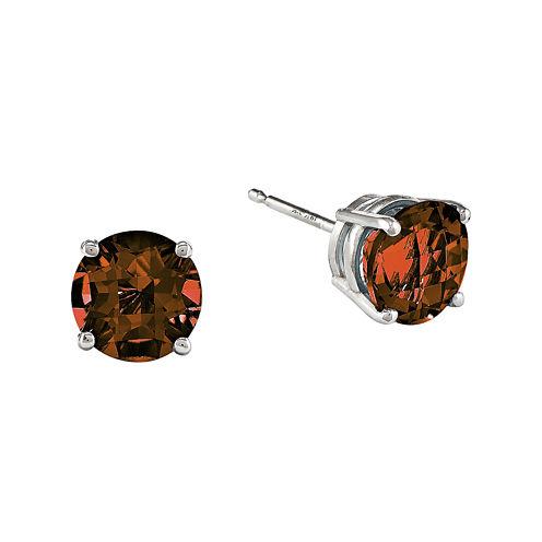 Genuine Garnet 14K White Gold Round Earrings