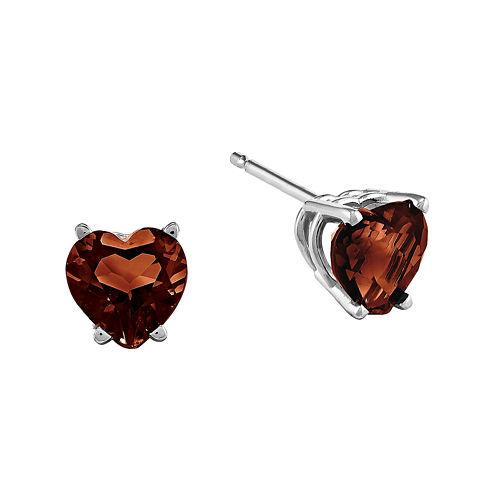Genuine Garnet 14K White Gold Heart Stud Earrings