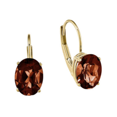 jcpenney.com | Genuine Red Garnet 14K Yellow Gold Oval Drop Earrings