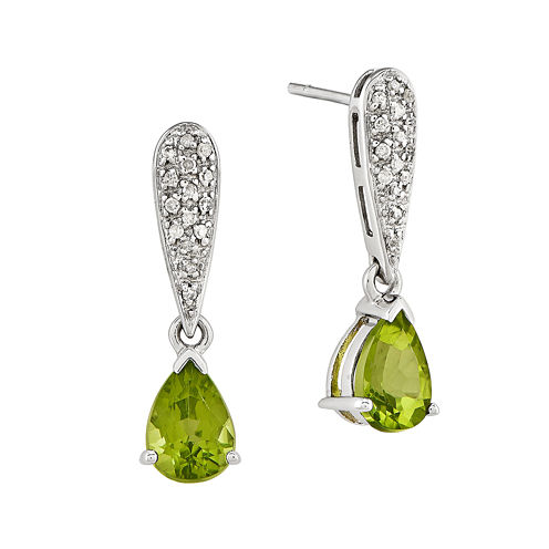 1/10 CT. T.W. Diamond Genuine Peridot 14K White Gold Earrings