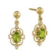 Genuine Peridot and Diamond-Accent 14K Yellow Gold Openwork Earrings