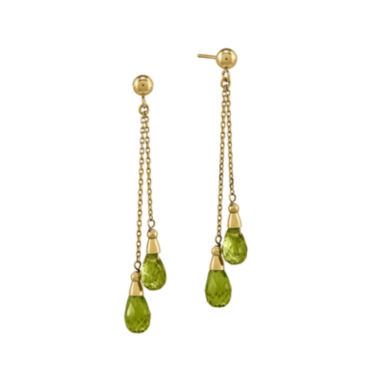 jcpenney.com | Genuine Green Peridot 14K Yellow Gold Two-Stone Earrings