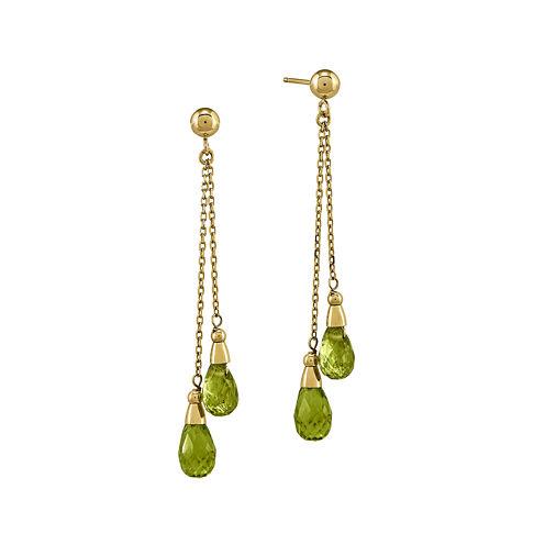 Genuine Green Peridot 14K Yellow Gold Two-Stone Earrings