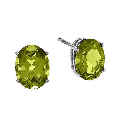 Genuine Peridot 14K White Gold Oval Earrings