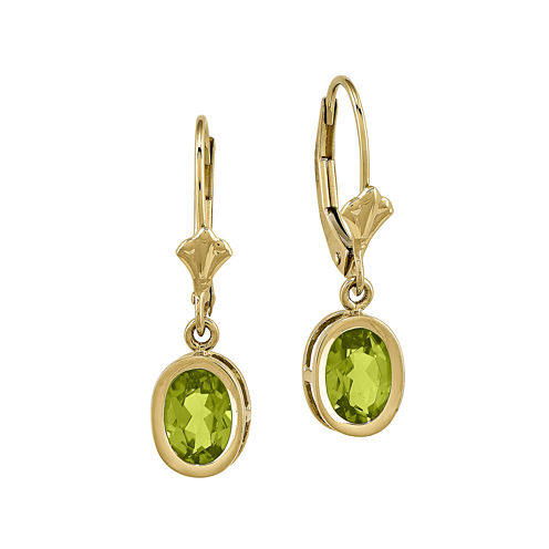 Genuine Peridot 14K Yellow Gold Leverback Earrings