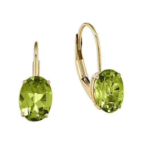 Genuine Peridot 14K Yellow Gold Oval Drop Earrings