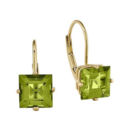 Genuine Peridot 14K Yellow Gold Princess-Cut Earrings
