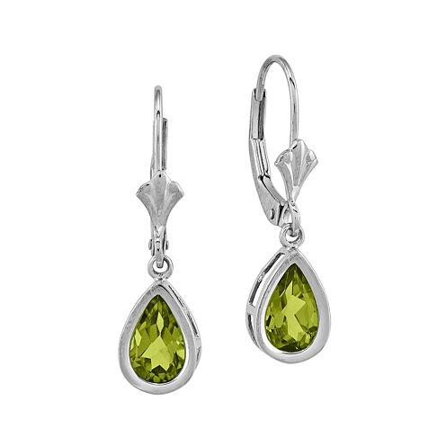 Genuine Peridot 14K White Gold Pear-Shaped Earrings