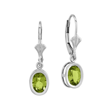 jcpenney.com | Genuine Peridot 14K White Gold Oval-Shaped Earrings