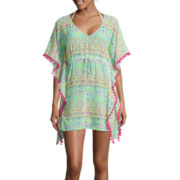 Arizona Elbow-Sleeve Chiffon Pom-Pom Kimono Swim Cover-Up - Juniors Dress