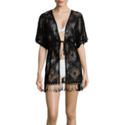 Arizona Dolman-Sleeve Fringed Tie-Front Kimono Swim Cover-Up - Juniors