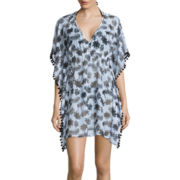 Arizona Elbow-Sleeve Palm Print Chiffon Pom-Pom Kimono Swim Cover-Up - Juniors