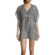 Raviya Elbow-Sleeve Chevron Chiffon Tunic Swim Cover-Up