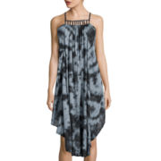 Raviya Sleeveless Caged-Neck Tie-Dye Maxi Dress Swim Cover-Up