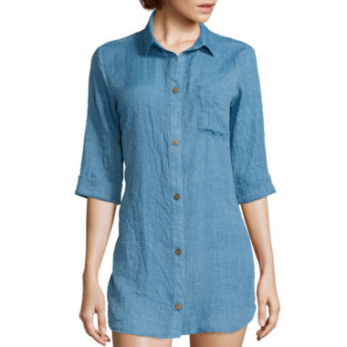 jcpenney.com | Wearabouts® 3/4-Sleeve Oversized Shirt Swim Cover-Up