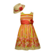 Bonnie Jean® Floral Dress and Hat Set - Toddler Girls 2t-4t