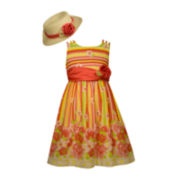 Bonnie Jean® Floral Dress and Hat Set - Preschool Girls 4-6x