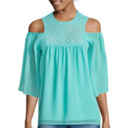 Sunset & 6th Elbow-Sleeve Chiffon Cold-Shoulder Top