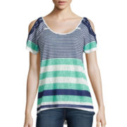 Almost Famous Short-Sleeve Striped Cold-Shoulder Top - Juniors