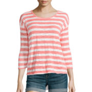 Almost Famous 3/4-Sleeve Layered Lace-Back Striped Knit Top