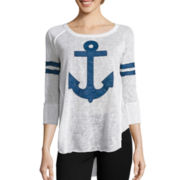 Almost Famous Long-Sleeve Anchor Knit T-Shirt - Juniors