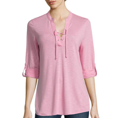 jcpenney.com | Almost Famous 3/4-Sleeve Lace-Up Knit Shirt - Juniors