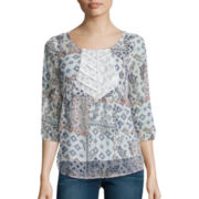 Arizona 3/4-Sleeve Lace-Inset Pintuck Woven Top  - Juniors