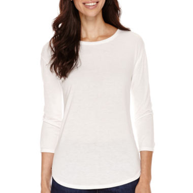 jcpenney.com | a.n.a® 3/4-Sleeve Back-Seam T-Shirt