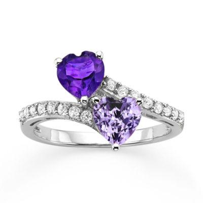 Fine Jewelry Genuine Amethyst & Lab Created Blue Sapphire Sterling Silver Ring NQBnA5YW