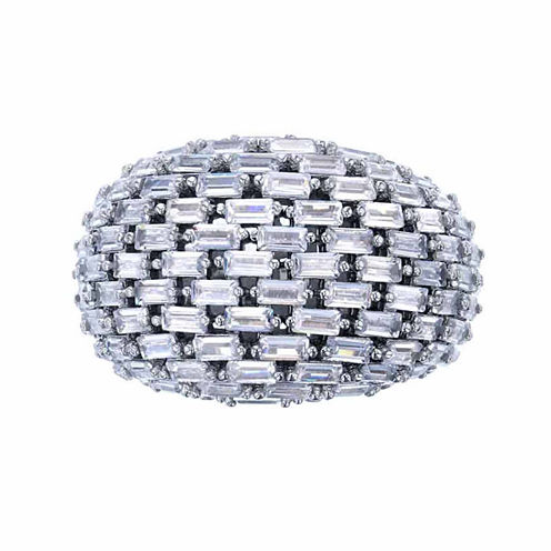 Sterling Silver Rhodium  Tapered Baguette Cut Domed Cocktail Ring