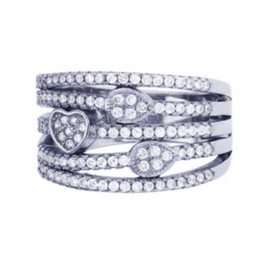 jcpenney.com | Sterling Silver 5-Row Cubic Zirconia Heart And Teardrop Cocktail Ring