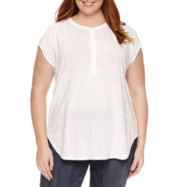 jcpenney.com | Liz Claiborne Sleeveless Cap Sleeve Henley Shirt Plus