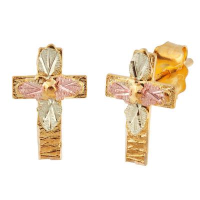 19.5 x 18 MM Landstroms Black Hills Sterling Silver and 12K Cross Post Stud Earrings