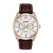 Citizen® Eco-Drive™ Mens Rose Gold-Tone Leather Strap Watch